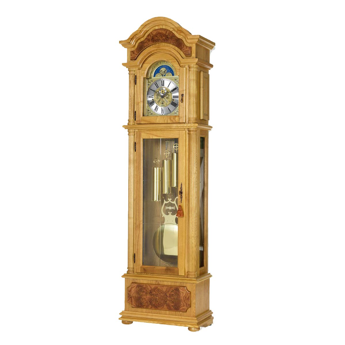 BURLINGTON-Oak Grandfather Floor Clock
