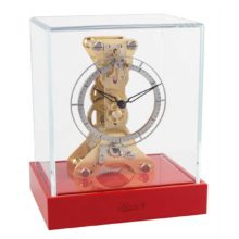AMBLE 23047-R70762 Skeleton Mantel Clock Coral Red