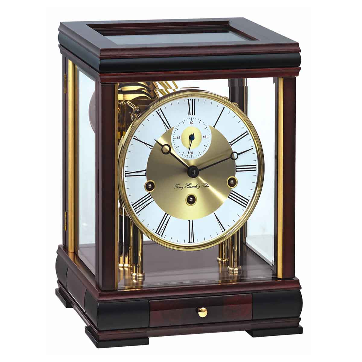 BERGAMO M 22998 070352  Mahogany Mantel Table Clock