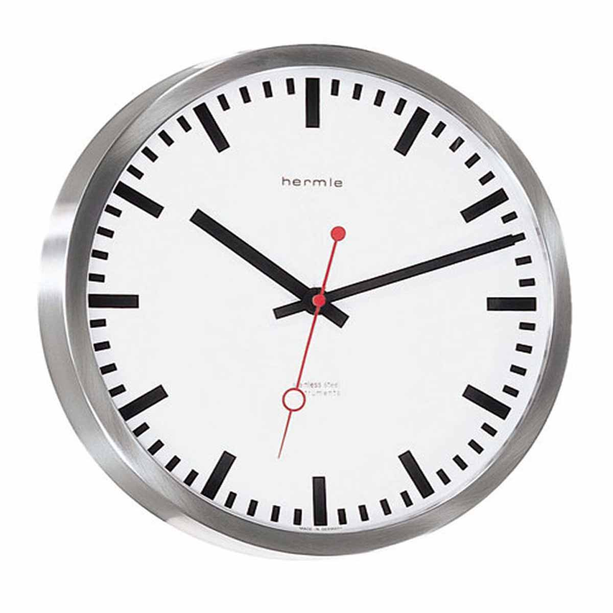 stainless steel wall clock - hermle  stainless steel wall clock